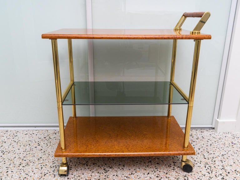Gold Plate Bar Cart For Sale