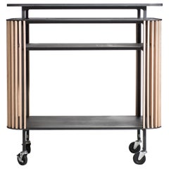 Bar Cart in Blackened Laser-Cut Steel Frame with Oak Slats and Leather Top