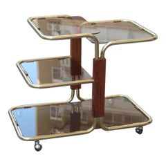 Bar Cart in Brass and Wood Minimal Gold Glass Top Mezzanines, 1970