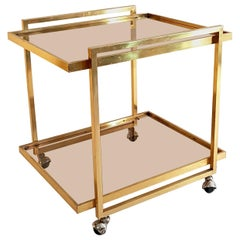 Bar Cart in Brass Italy 1970s