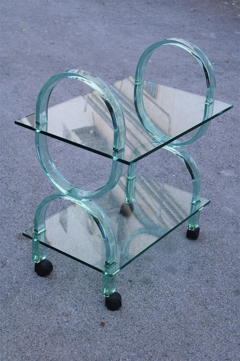 Bar cart Italian design curved solid glass green Fiam, 1980s.