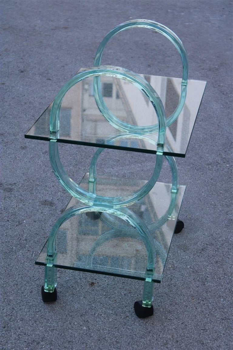 Mid-Century Modern Bar Cart Italian Design Curved Solid Glass Green Fiam, 1980s For Sale
