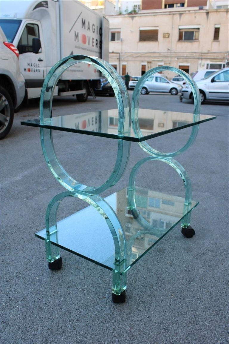 Bar Cart Italian Design Curved Solid Glass Green Fiam, 1980s For Sale 2