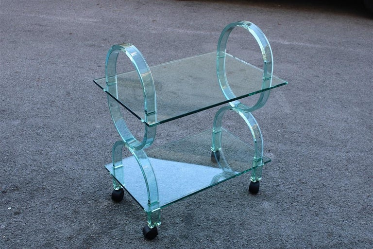 Bar Cart Italian Design Curved Solid Glass Green Fiam, 1980s For Sale 3