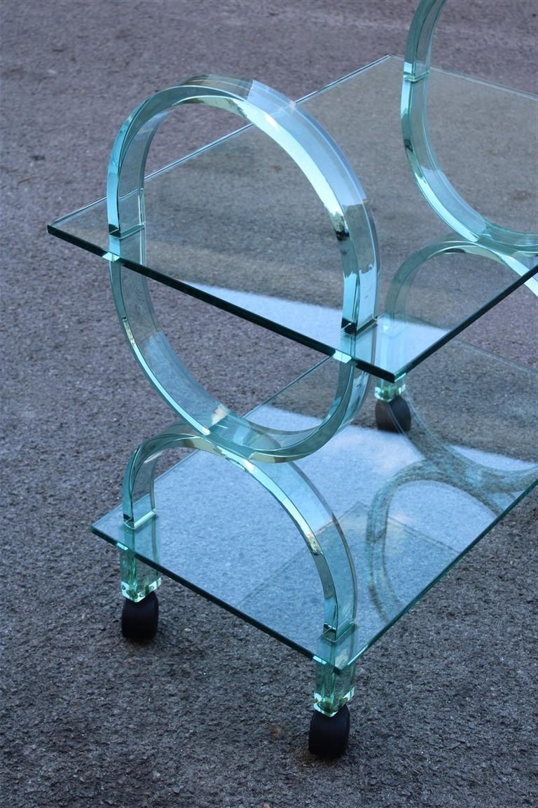 Bar Cart Italian Design Curved Solid Glass Green Fiam, 1980s For Sale 4