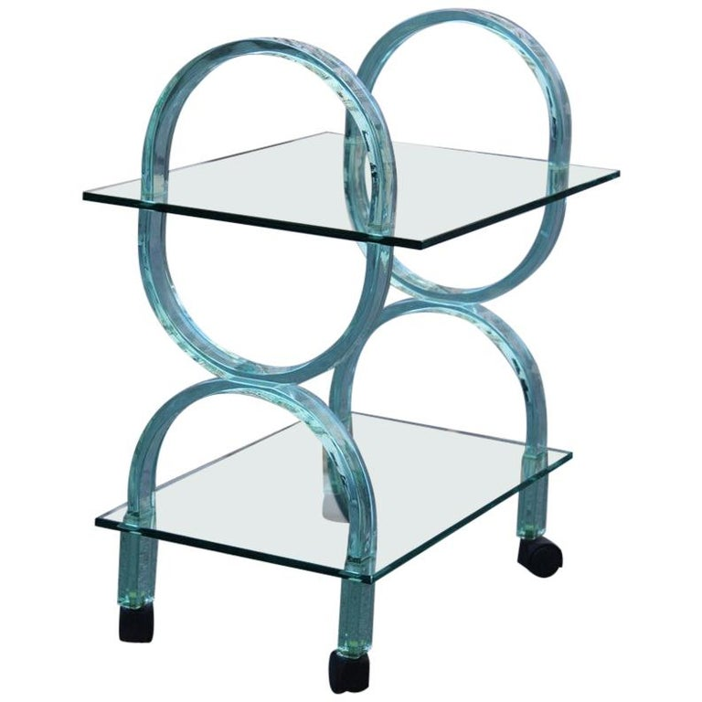Bar Cart Italian Design Curved Solid Glass Green Fiam, 1980s For Sale
