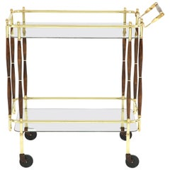 Bar Cart, Mid-Century Modern, Brass with Dark Wood Details, circa 1950, USA