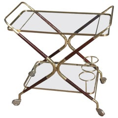 Bar Cart Mid-Century Modern Italian Design Brass Wood Glass Gold Design, 1950