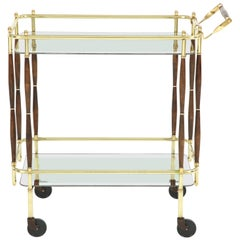 Bar Cart, Midcentury, Brass with Dark Wood Details, circa 1950
