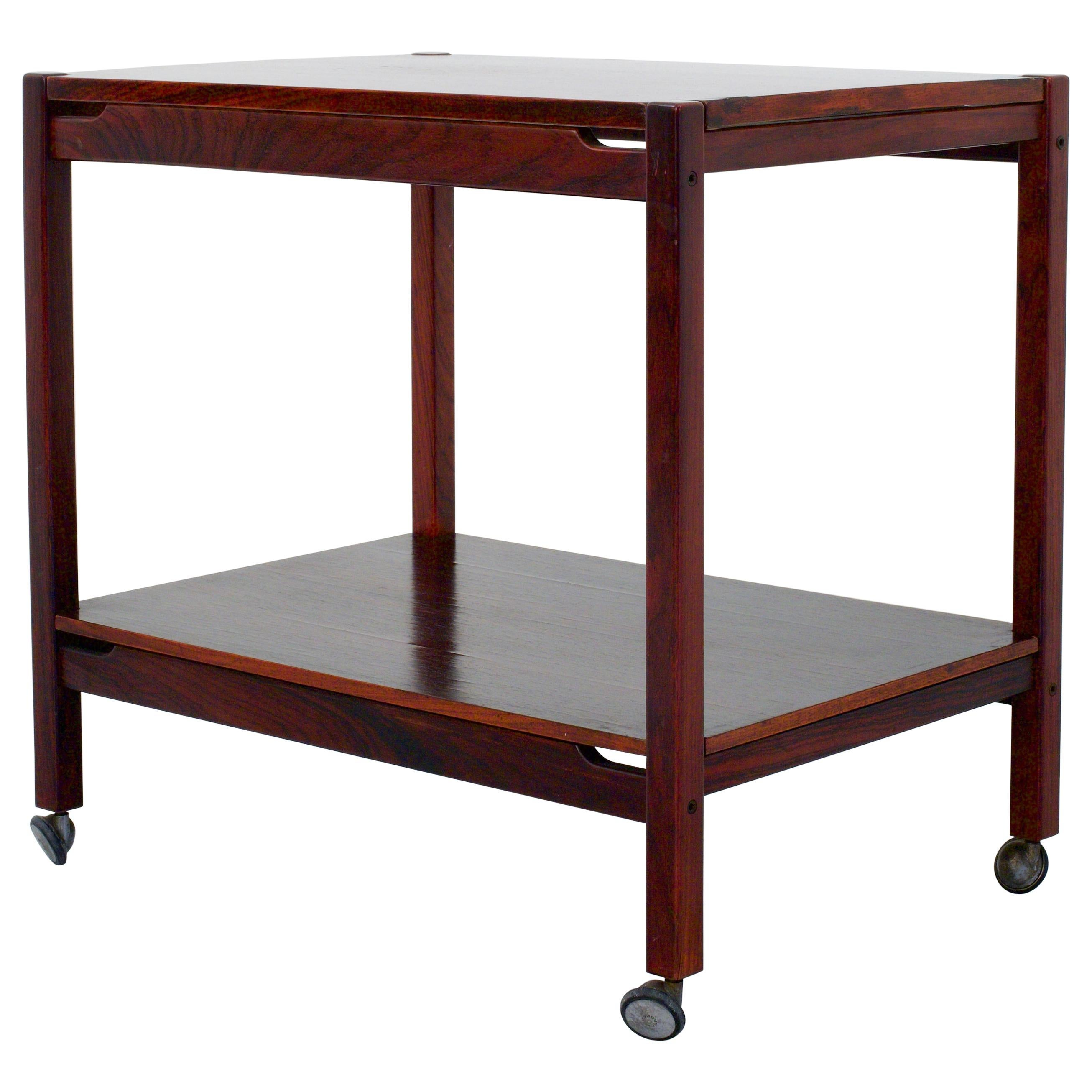 Bar Cart or Serving Trolley in Mahogany and Metal, Italy, 1960s
