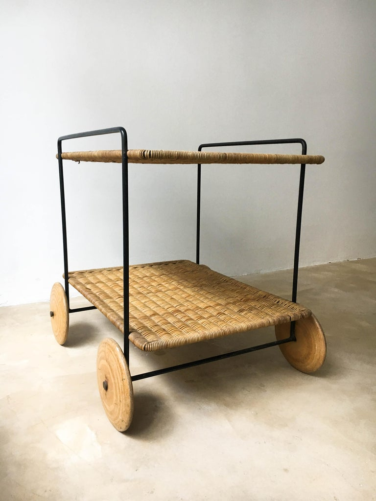 Mid-20th Century Carl Auböck II Vintage Bar Cart Serving Trolley Iron Wicker, Austria 1950s For Sale