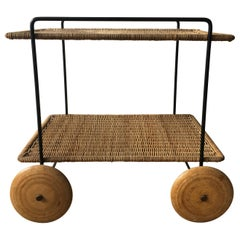 Carl Auböck II Vintage Bar Cart Serving Trolley Iron Wicker, Austria 1950s