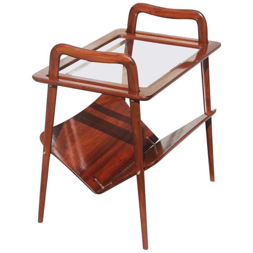 Bar Cart Tray Midcentury Italian Design Walnut Brown Wood Ico Parisi De Baggis