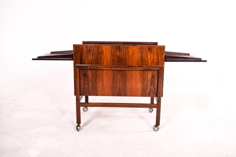 Mid-20th Century Bar Cart Trolley by Andreas Hansen in Rosewood, 1960s For Sale