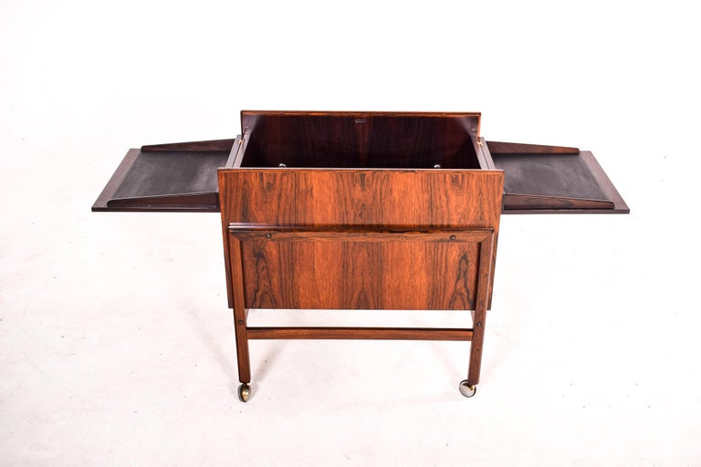 Bar Cart Trolley by Andreas Hansen in Rosewood, 1960s For Sale 1