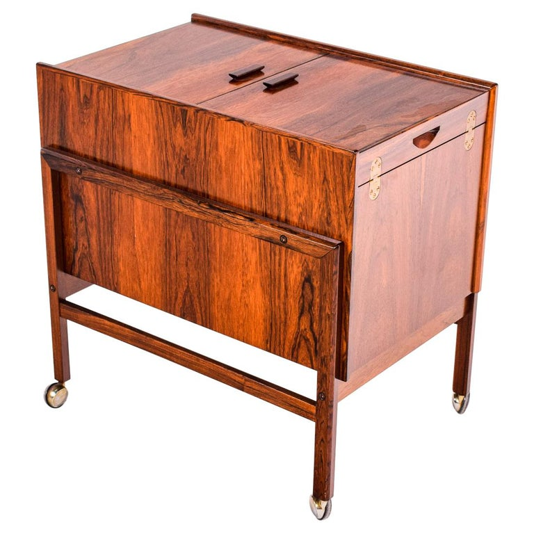 Bar Cart Trolley by Andreas Hansen in Rosewood, 1960s For Sale