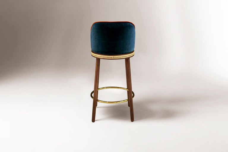 Portuguese Mid-Century Modern Bar Chair Alma in Blue Cotton Velvet, Walnut, Brass in Stock For Sale
