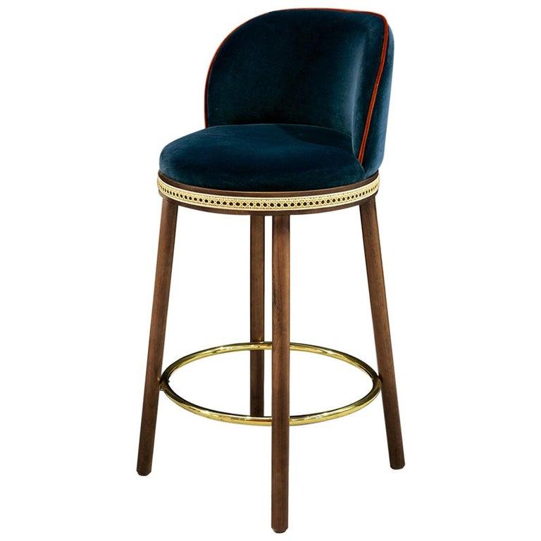 Mid-Century Modern Bar Chair Alma in Blue Cotton Velvet, Walnut, Brass in Stock For Sale