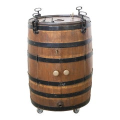 Bar Cocktail Cabinet Barrel, Oak and Wrought Iron, France, 19th Century