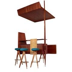 Bar Furniture with Stools Mahogany Veneer Vintage, Italy, 1950s
