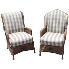 Bar Harbor Wicker Chairs in Original Paint, Pair
