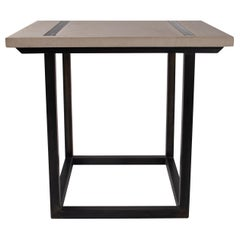 Bar Height Hollow Black Steel Base with Square Limestone Top