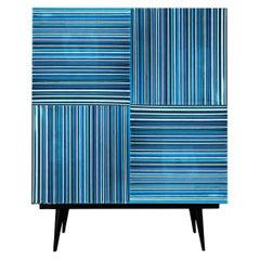 Bar Navy Blue Multi-Color Glass Doors by Orfeo Quagliata