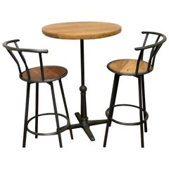 Bar or Patio Table with 2 Bar Height Chairs, Teakwood Table Top, Solid Iron Base