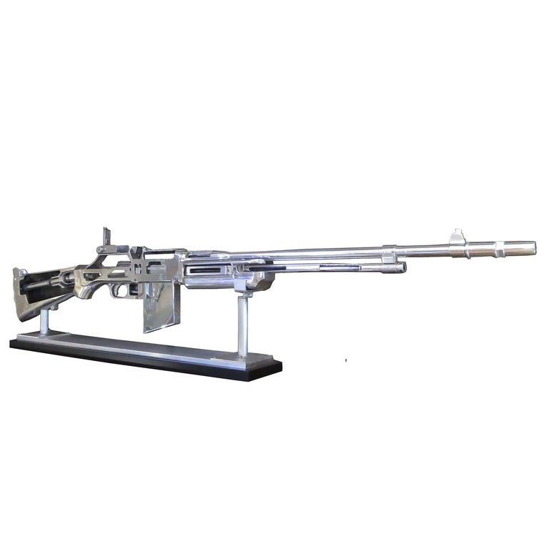 Created in 1917, the Browning Automatic Rifle became the American standard military issue gun for ground troops. It was widely used during WWII, The Korean War, and to a lesser extent in the Vietnam War. Our oversized model was used in the classroom