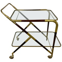 Bar Serving Cart Trolley by Cesare Lacca in Brass Mahogany and Glass Italy 1950s