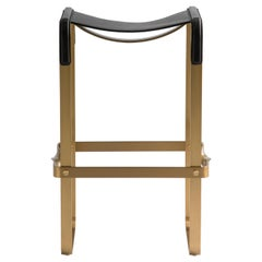 Bar Stool Aged Brass Steel and Black Leather, Modern Style, Wanderlust