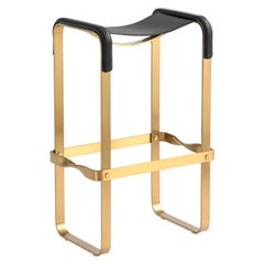 Bar Stool Aged Brass Steel and Black Saddle Leather, Contemporary Style