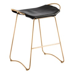 Bar Stool, Aged Brass Steel and Black Saddle Leather, Contemporary Style