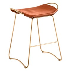 Bar Stool, Aged Brass Steel and Natural Tobacco Leather, Modern Style