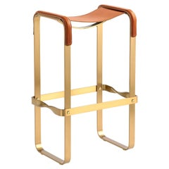 Bar Stool Aged Brass Steel and Natural Tobacco Saddle Leather Contemporary Style