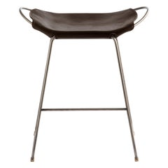 Bar Stool, Aged Silver Steel and Dark Brown Leather, Modern Style