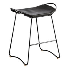 Bar Stool, Black Smoke Steel and Black Leather, Contemporary Style