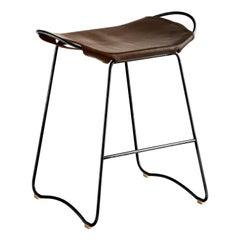 Bar Stool, Black Smoke Steel and Dark Brown Leather, Modern Style
