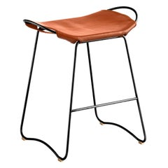 Bar Stool, Black Smoke Steel and Natural Tobacco Leather, Contemporary Style