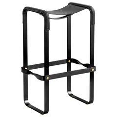 Bar Stool Black Smoke Steel & Black Saddle Leather Contemporary Style