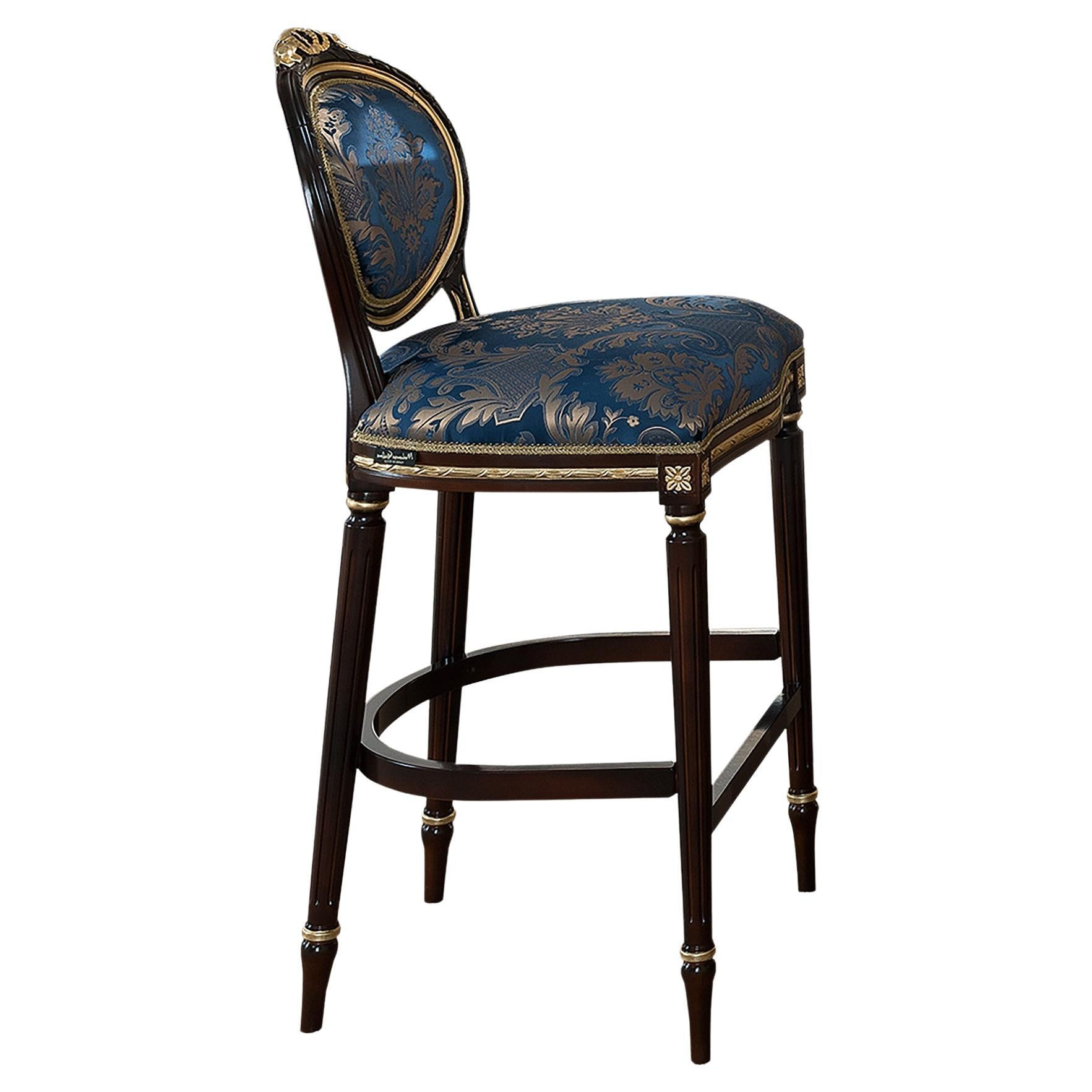 Bar Stool in Black Finish with Gold Leaf Finish and Blue Italian Fabric
