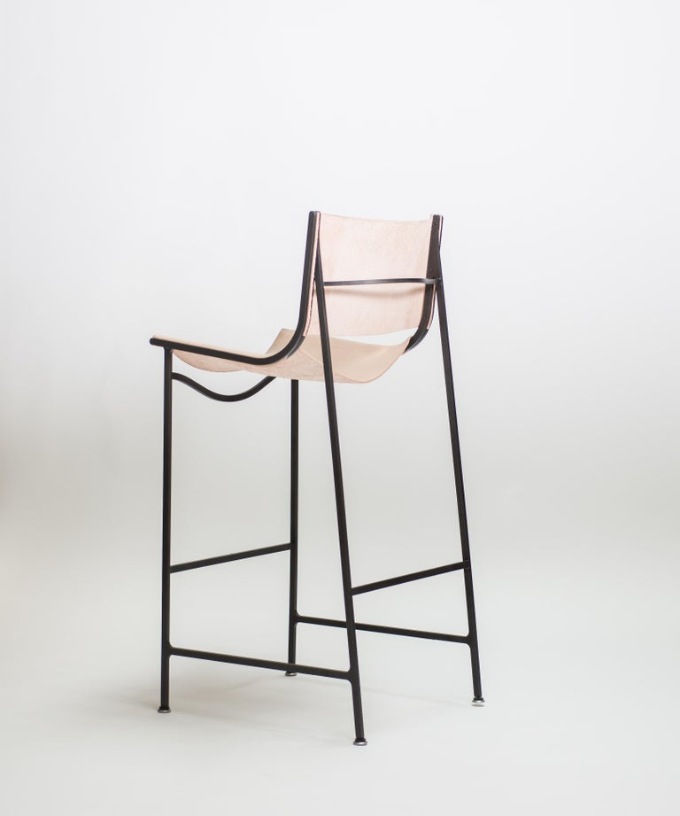Bar Stool in Blackened Laser-Cut Steel Frame and Veg Tan Leather Sling