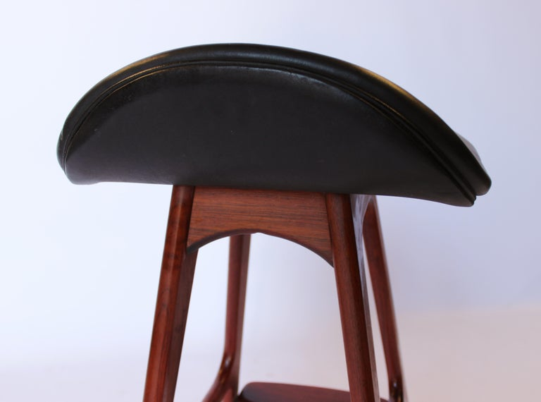 Leather Bar Stool, Model OD61, Designed by Erik Buch, 1960s For Sale