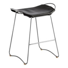 Bar Stool, Old Silver Steel and Black Leather, Contemporary Style