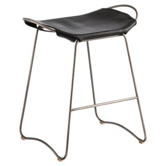 Bar Stool, Old Silver Steel and Black Leather, Modern Style