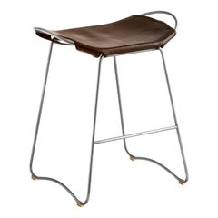 Bar Stool, Old Silver Steel and Dark Brown Leather, Contemporary Style