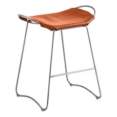 Bar Stool, Old Silver Steel and Natural Tobacco Leather, Contemporary Style