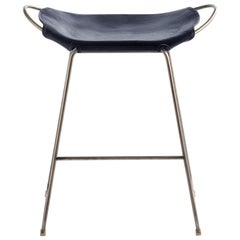 Bar Stool, Old Silver Steel and Navy Leather, Modern Style