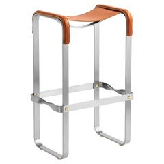 Bar Stool Silver Aged Steel & Natural Tobacco Saddle Leather Contemporary Style