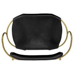 Bar Stool with Backrest Aged Brass Steel and Black Saddler Leather